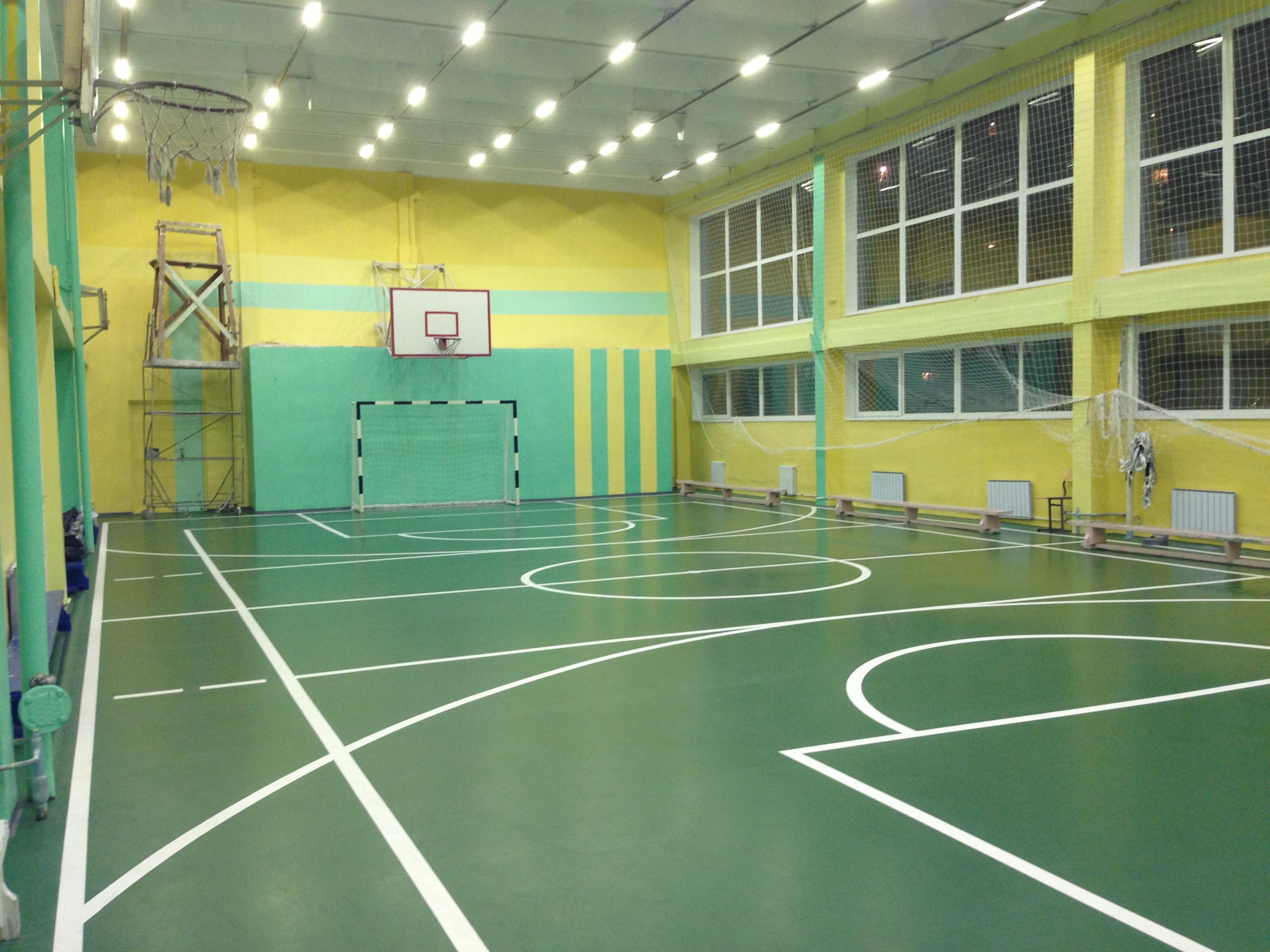 Спортивный зал учебного заведения с нанесением разметки